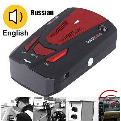 GPS Radar Detector Scanning Advanced Voice Alert 360 Degree Car Full 16 Band English/Russian Voice Alert 16 Brand (Red/Blue)
