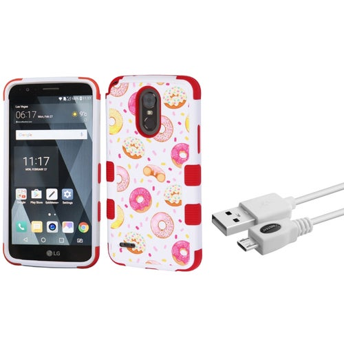 LG Stylo 3 Case, LG Stylo 3 Phone Case, by Insten TUFF [Shock Absorbing] Hybrid Hard Plastic/Silicone Cover Case For LG Stylo 3 - Donuts/Red (+ USB Cable)