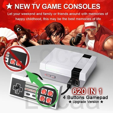 (4 Buttons Upgrade Version) 620 IN 1 4 Buttons Gamepad Mini Retro TV Game Consol