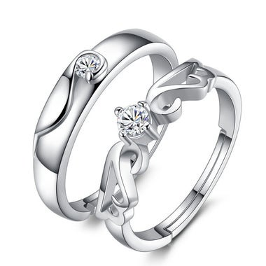 Silver Color Zircon Wedding Couple Rings