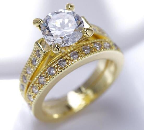Genuine Yellow Gold Filled Ring AAA CZ Vintage Jewelry Set 2pcs ring
