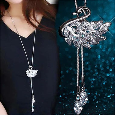 80cm Women Long Necklace Swan Zircon Crystal Rhinestone Pendant Necklaces Jewelr