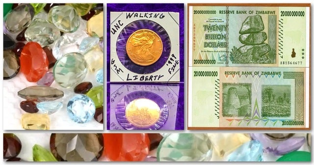 Estate CURRENCY Liquidation Lot: World Currency, 1Ct Weight GemStones, Bullions