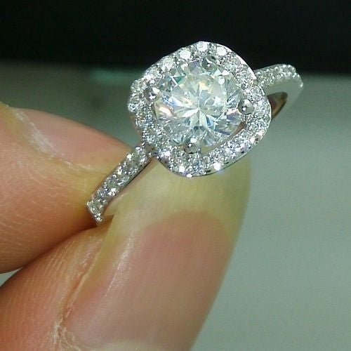 Jewelry C04 18K White Gold Filled CZ Ring
