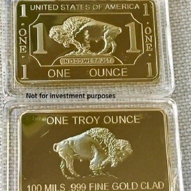 1 Troy Ounce .999 Gold Clad *** Buffalo *** Bar