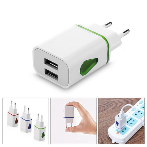 EU LED 2 USB Port Charger Adapter LED USB 2 Port Wall Home Travel AC Charger Adapter For S7 EU Plug