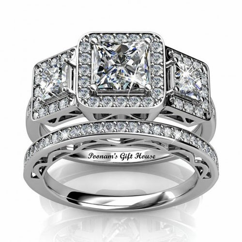 Sheri Princess Cut CZ Three Stone Wedding Ring Set