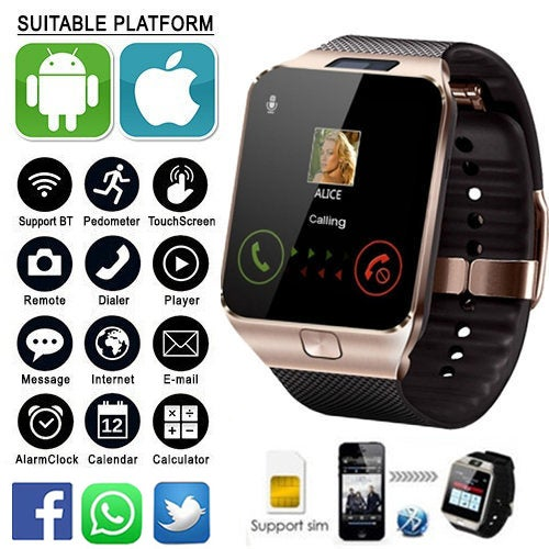 Christmas Gift! SIM Smartwatch Support UP to 32GB TF Card,Bluetooth Smart Camera GSM SIM/TF Phone For IOS Android With Box