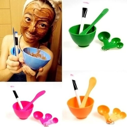 High Stylish Homemade 6in1 Makeup Beauty DIY Facial Face Mask Bowl Brush Spoon Stick Tool Set #apowu522#