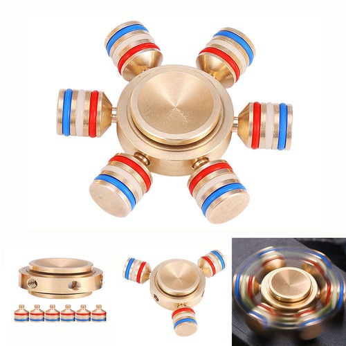 Brass Hand Spinner Tri Fidget Finger Fingertip Gyro Desk Toy EDC Kids Adult