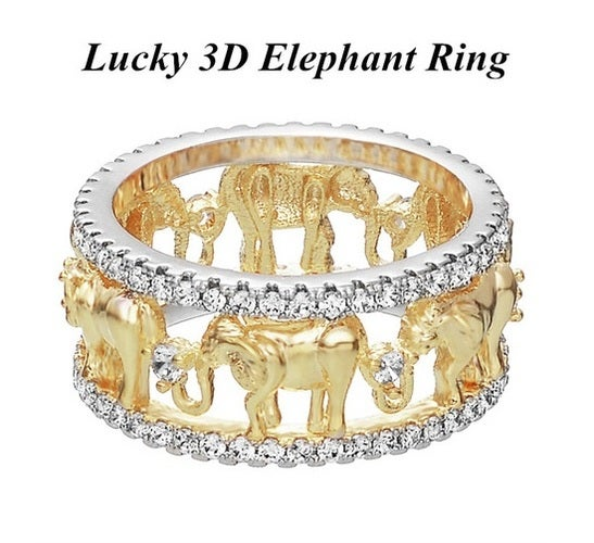 Antique Gold Color Lucky 3D Elephant Ring Romantic Cute Zircon Ring For Woman Fashion Jewelry
