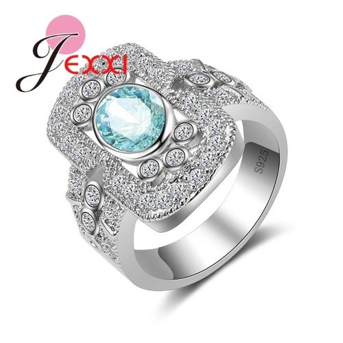 925 Sterling Silver Blue Crystal Bagett Ring Size 7-9