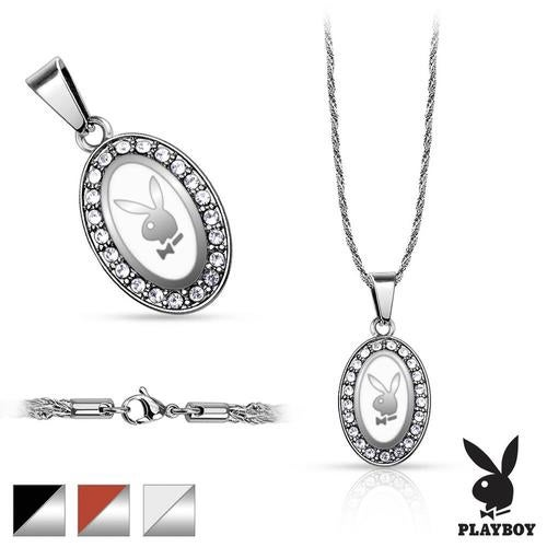 316L Stainless Steel Rope Chain with Oval Playboy Logo Paved Gemá