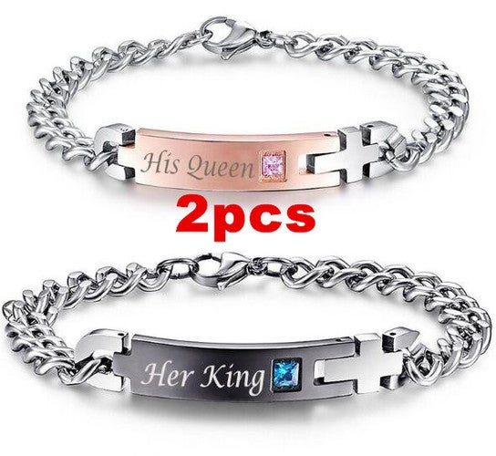 His Queen Her King Stainless Steel His and Hers Couple Bracelet 2 Pieces Gift GW
