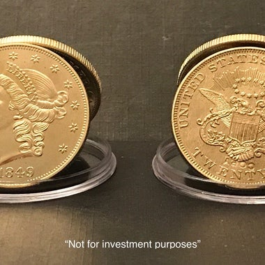 Copy Gold Clad 1849 ***1st Ever $20 Double Eagle*** Coin (.999 Fine Gold Clad) P