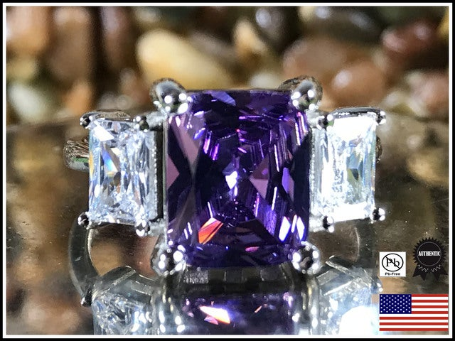 Amethyst on Silver Band, Exquisite!. Sizes 7,8 or 9 only please