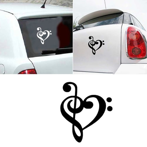 Love Heart Musical Note Car Bumper Window Sticker Home PC Tablet Decor Decal