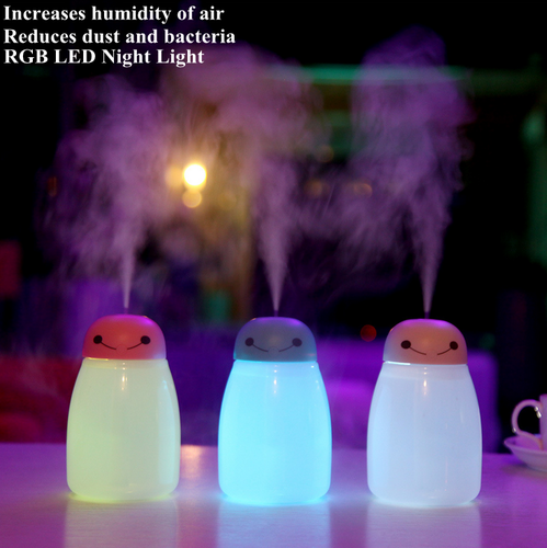 Mini USB Ultrasonic Humidifier Diffuser Air Purifier Nebulizer 2 Atomizing Mode with RGB LED Night Light for Car Home Use