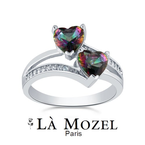 3.00 Carat Highly Graded Mystic CZ Double Heart Ring
