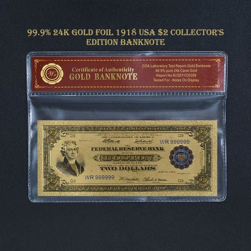 Limited 99.9% 24k Gold Foil Polymer Collectors 1918 US $2 with Certificate of Authenticity