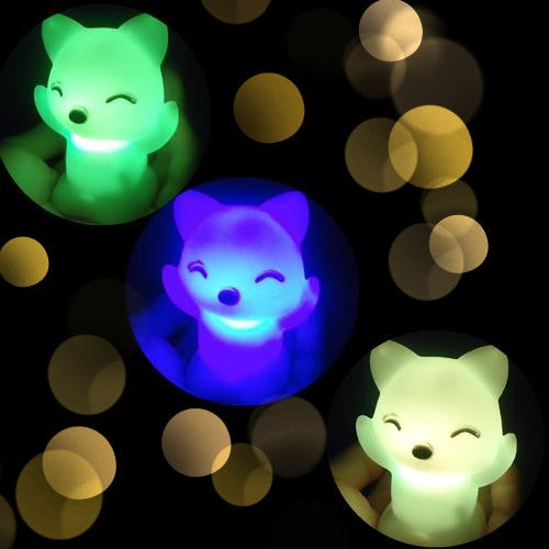 1Pcs  7*4.5cm Romantic 7 Color Changing LED Floating Lovely Fox Night Light Decoration-White