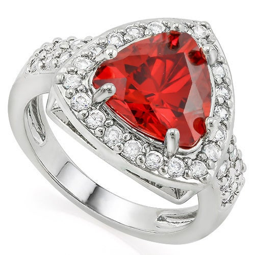 14k White Gold Filled, Beautifully Created Fine Garnet & White Sapphire Ring SM8854
