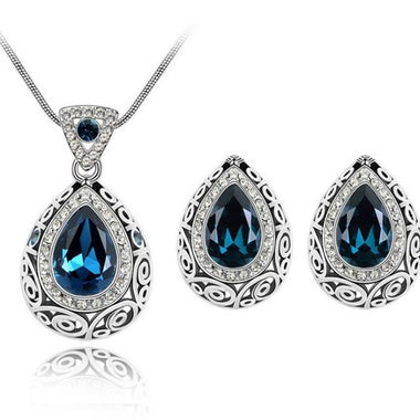 Christmas Exquisite Classic 2CTW Genuine Pear Cut Sapphire Pendant Necklace And