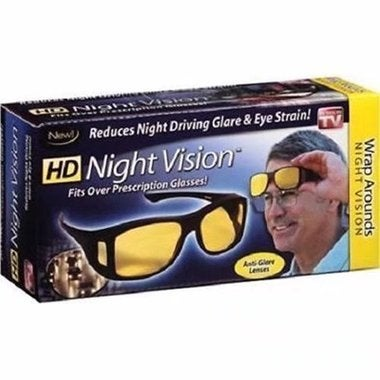 CN 2Pairs HD Night Vision Unisex Driving Sunglasses Nice Over Wrap Around Glasse