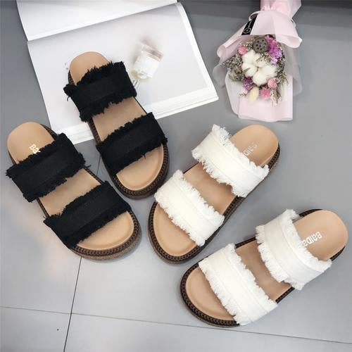 Summer New Roman Masonry Thick Sandals Women Flat Bottom Home Wind Shoes Female Soft Shoes