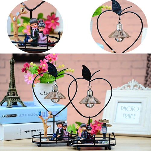1Pcs Iron Art Couples Night Light Creative DIY Home Furnishings Retro Crafts