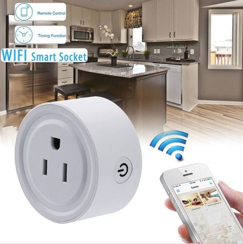 [US Plug Only] Remote Control Timer Switch WiFi Smart Outlet Power Socket US Plug for Cellphone