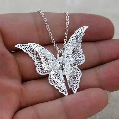 3D Butterfly Silver-plated butterfly necklace
