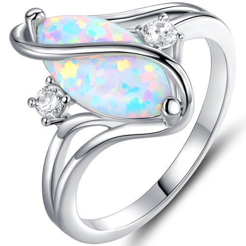 18K White Gold Plated White Fire Opal & Cubic Zirconia Accent S Ring