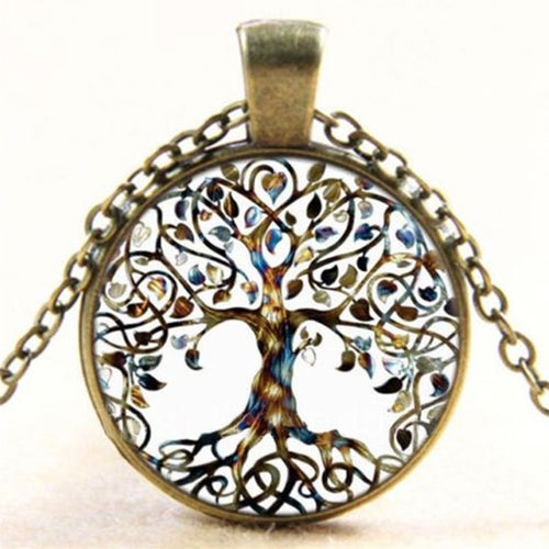 Tree of Life Cabochon Glass Necklace With Bronze Chain