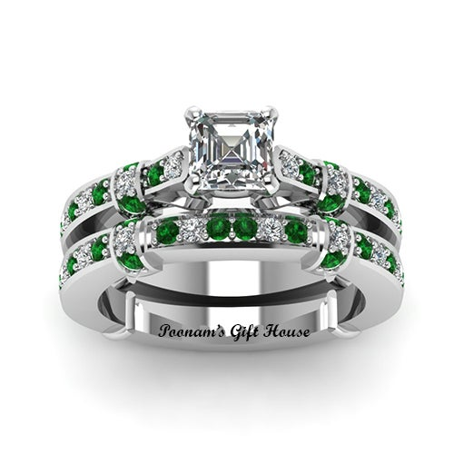 18K WGP green Tilted Band Set