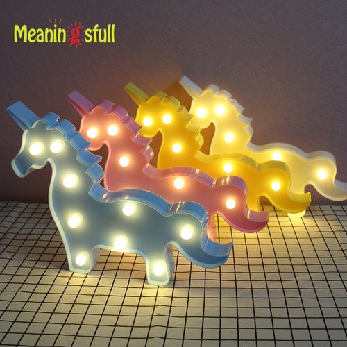 Meaningsfull Lovely 3D Unicorn Night Lights Plastic Marquee Sign baby Led Lamps For Kids Bedroom Party Home Decor Birthday Gifts