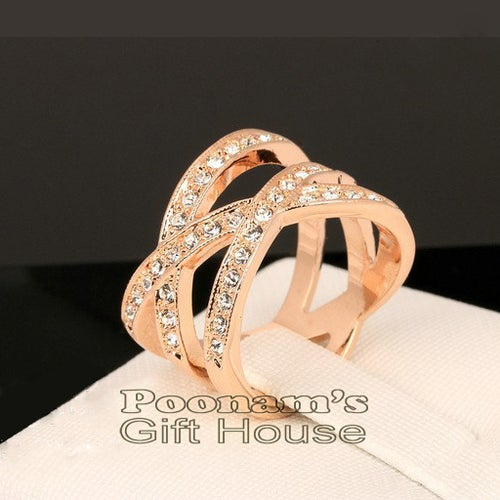 Double Cross 18K Rose Gold Plated Austrian Crystal Ring