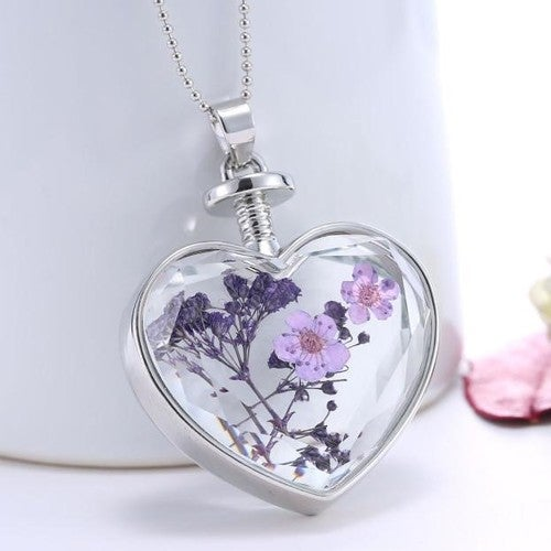 Glass Heart Enclosed Real Lavender Living Pendant Necklace