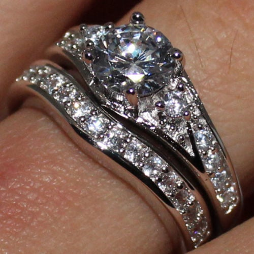 Jewelry B40 Womens White Gold Filled CZ Ring