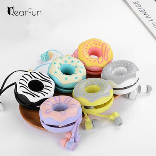 Cute Donuts Wired Earphones With Mic Music Headphones 3.5mm In Ear Stereo Headset Earbuds For Phone Xiaomi Iphone Samsung