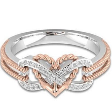 Jewelry Cubic Zirconia Rose Gold Color Wedding Rings Fashion Heart Ring for Wome
