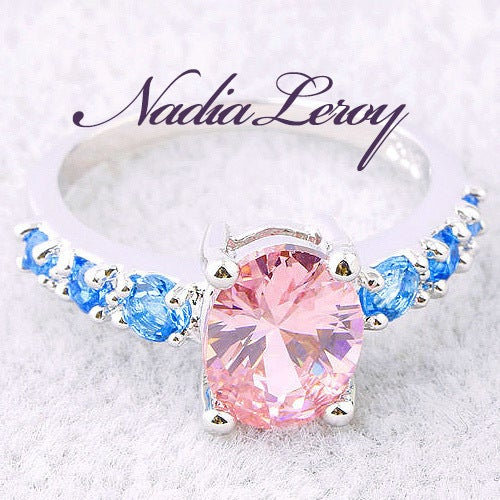 Oval 2.2 ct Pink Topaz And Blue Topaz Sterling Silver Ring