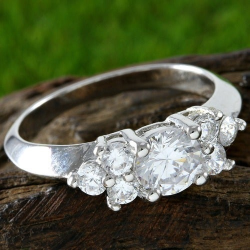 Brilliant Cut, 14k White Gold Filled Engagement Ring
