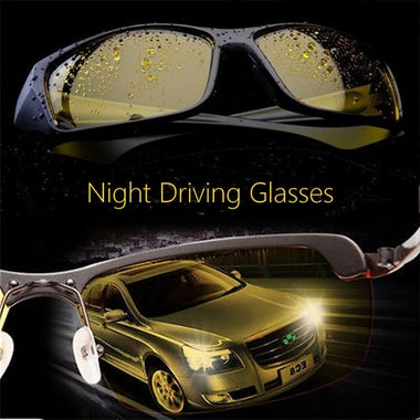 2 Pairs (Black & Yellow) HD Night Vision Nice Over Wrap Around Glasses Unisex Dr
