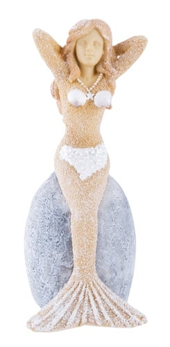 Sand Mermaid on Sitting on Rock Tabletop Figurine 6 Inches