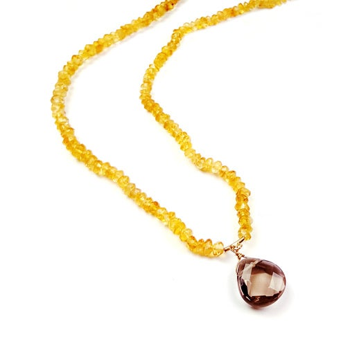 Stunning 14K Yellow Gold Citrine Chips Necklace