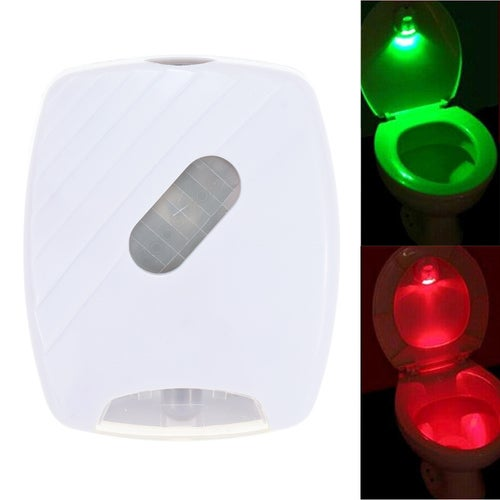 Toilet Night Light Auto-sensing LED Seat Lamp Motion Toilet Home Bathroom Red&ampGreen Light Lamp no battery