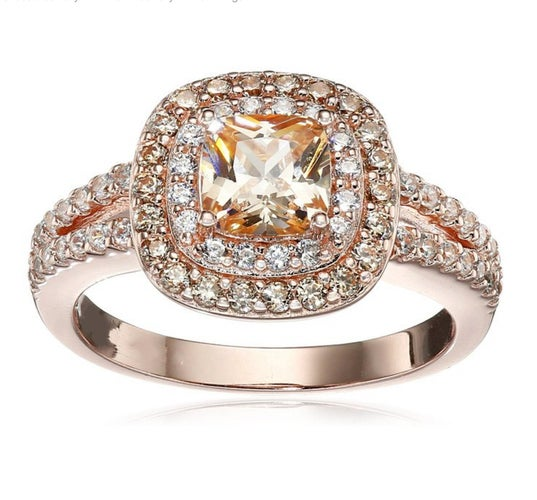 Gorgeous 18K RGP CZ halo ring #903