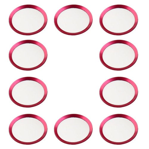 Metal Phone Home Button Sticker Ring Protector 10 PCS Fuchsia for iPhone