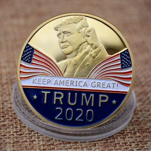 New commemorative coin Trump 999 gold-plated enamel       Tophatter